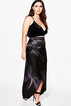 Plus Keira Satin Wrap Skirt