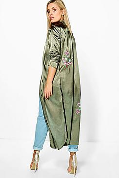 Plus Emilie Embroidered Satin Duster