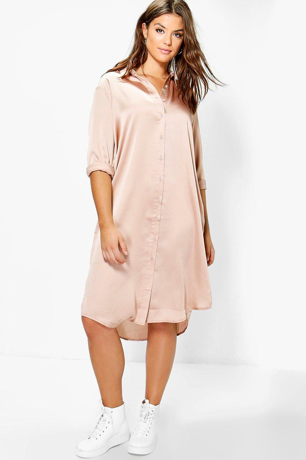 Plus Samia Satin Midi Shirt Dress