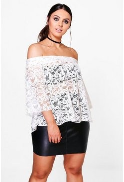 Plus Annie Lace Off The Shoulder Top