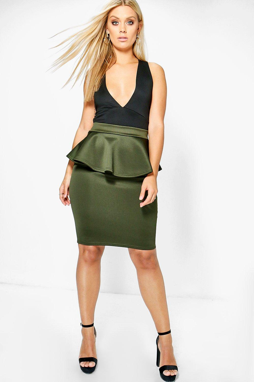 Hannah Peplum Skirt  khaki