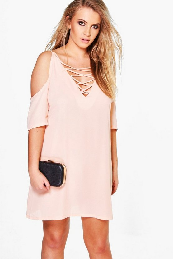 Plus Janine Lace Up Open Shoulder Dress