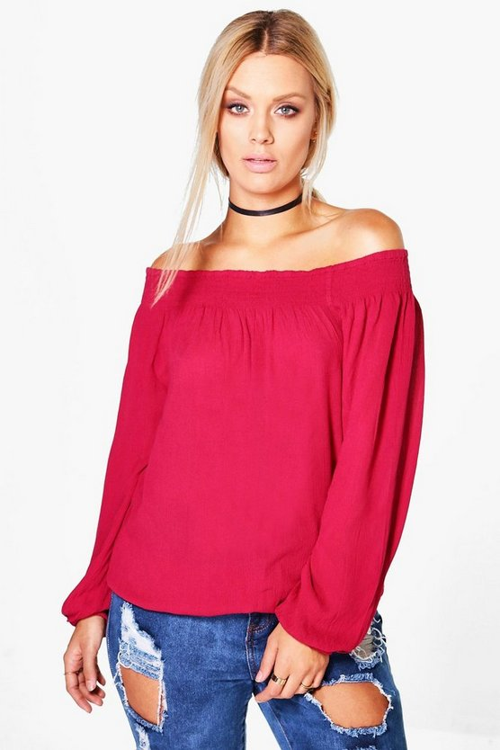 Plus Esme Woven Crinkle Off The Shoulder Top