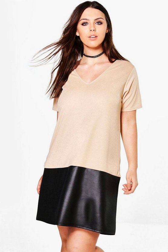 Plus Saskia PU Colour Block Shift Dress