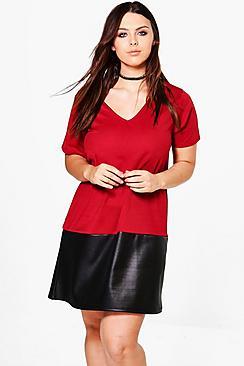 Plus Saskia PU Colour Block Shift Dress