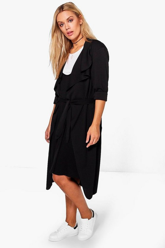 Plus Isobel Belted Shawl Collar Coat