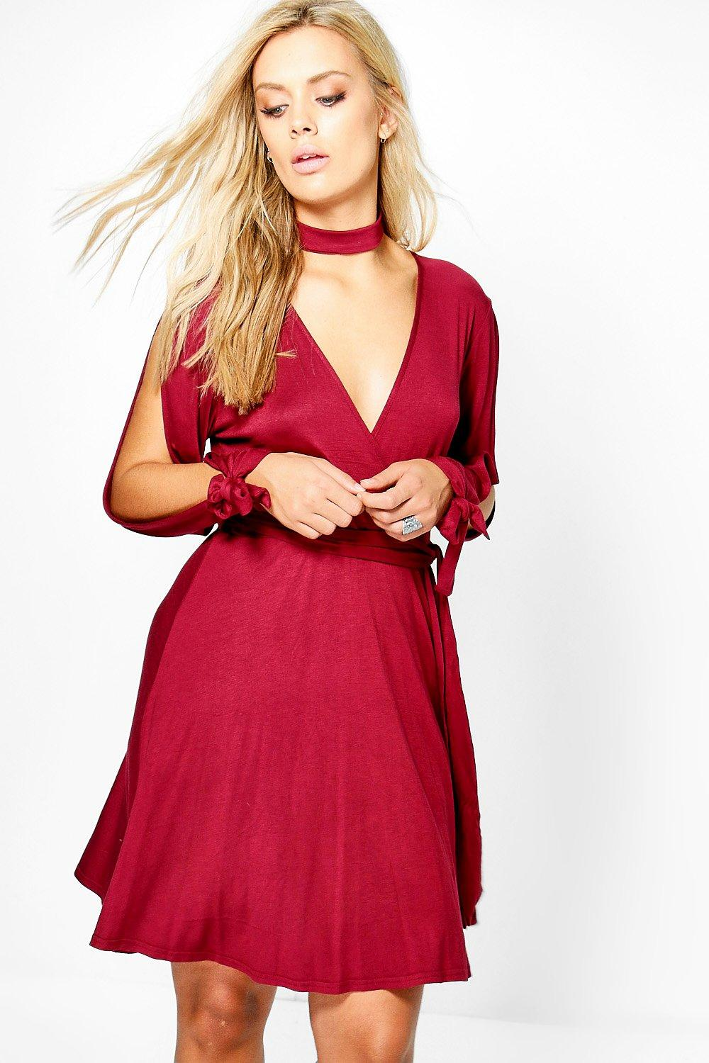 Plus Ella Choker Wrap Dress With Split Sleeve