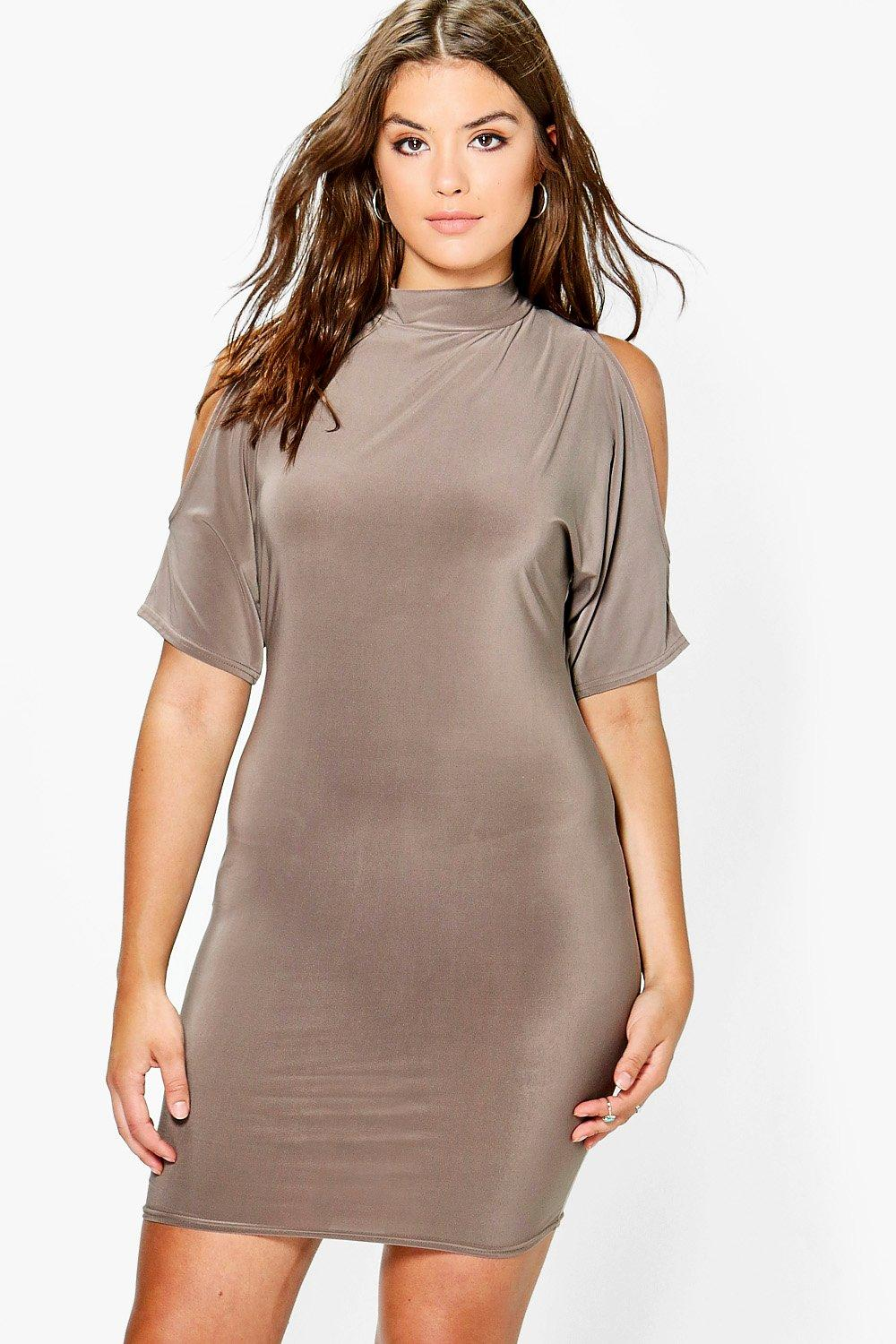 Plus Mandy Cold Shoulder Slinky Bodycon Dress