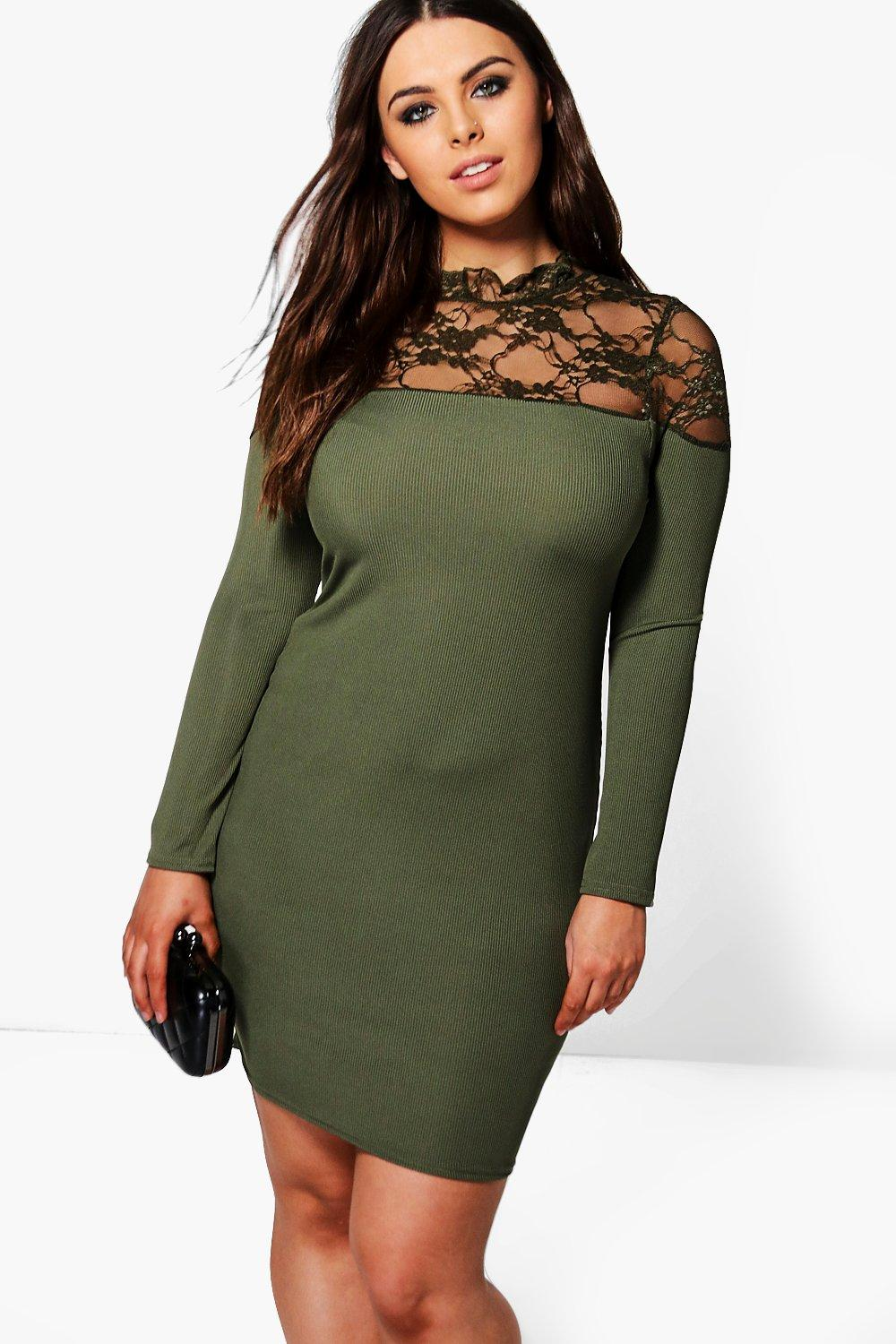 Plus Eliza Lace High Neck Bodycon Dress