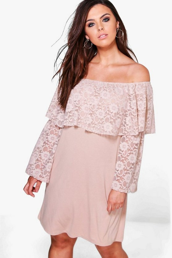 Plus Leanne Off The Shoulder Lace Ruffle Shift Dress