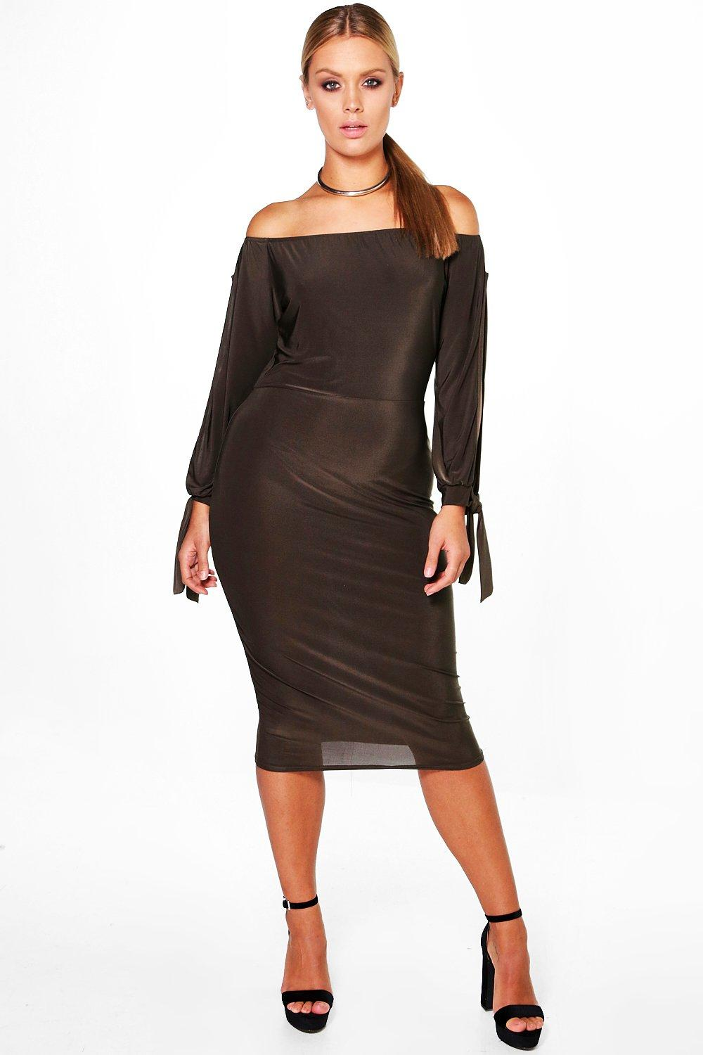 Plus Amie Off The Shoulder Open Shoulder Midi Dress