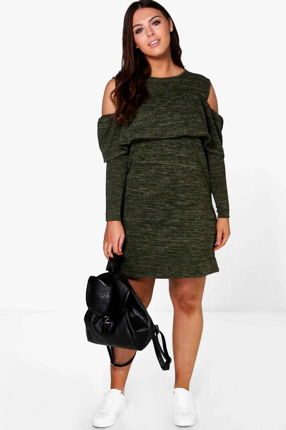 Plus Tammy Ruffle Open Shoulder Sweat Dress