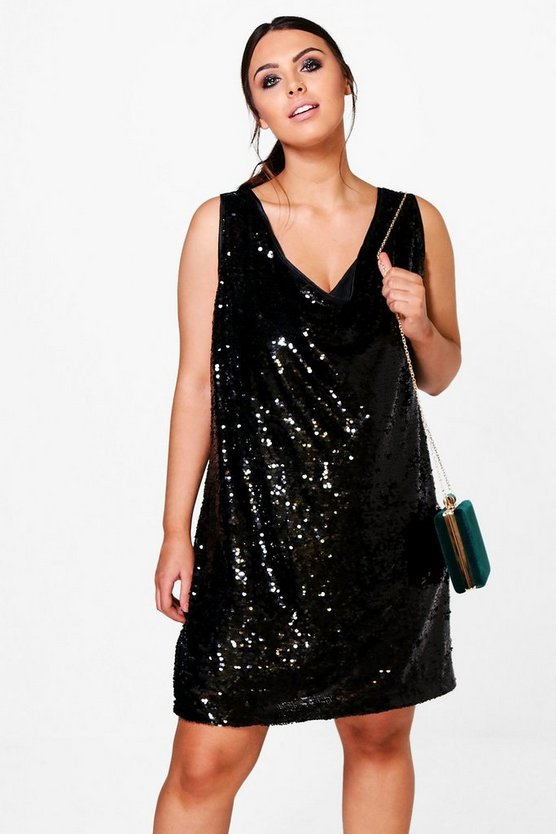 Plus Emily Plunge Sequin Shift Dress