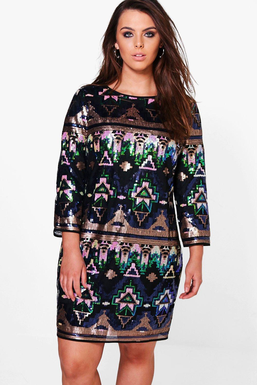 Grace Premium Embellished Shift Dress  multi
