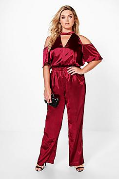 Plus Charlotte Choker Satin Jumpsuit