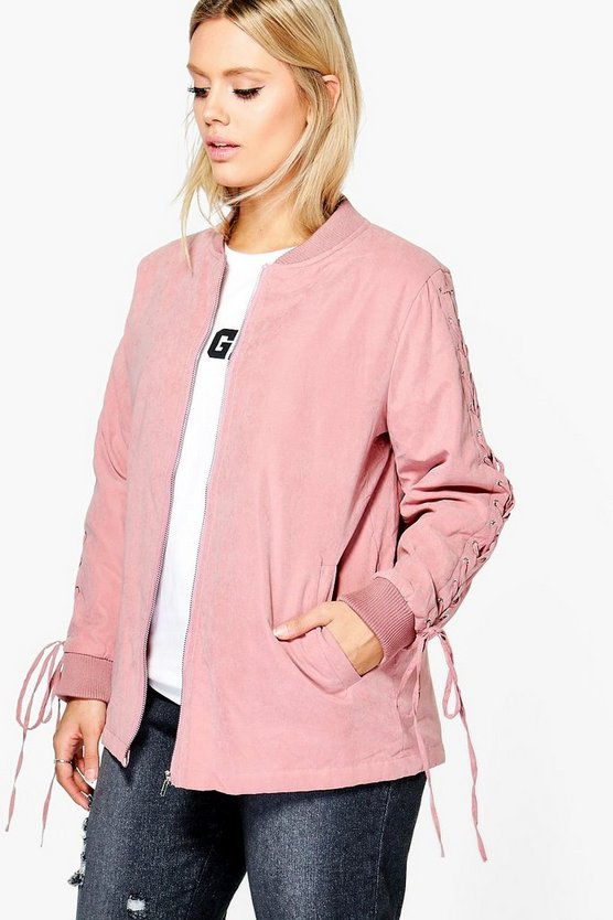 Plus Kate Lace Up Detail Bomber