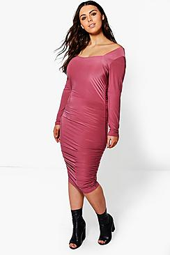 Plus Hannah Rouched Midi Dress