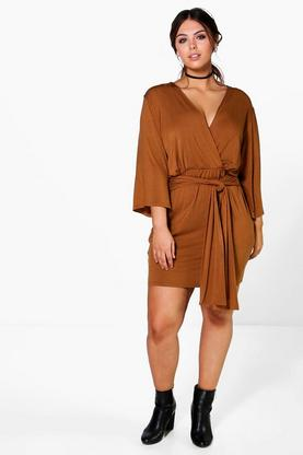 Plus Olivia Wrap Front Plunge Neck Dress
