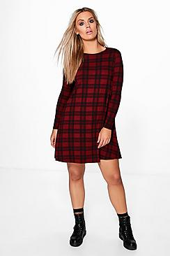 Plus Kelly Tartan Basic Swing Dress