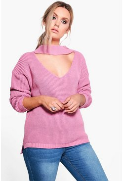Plus Belinda V Neck Choker Detail Jumper