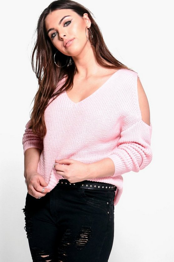 Plus Belle V Neck Cold Shoulder Jumper