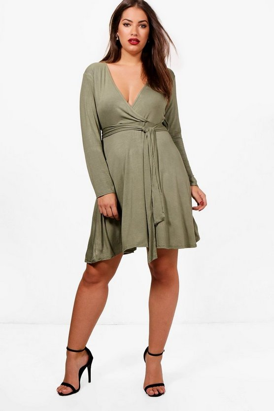Plus Wrap Tie Skater Dress