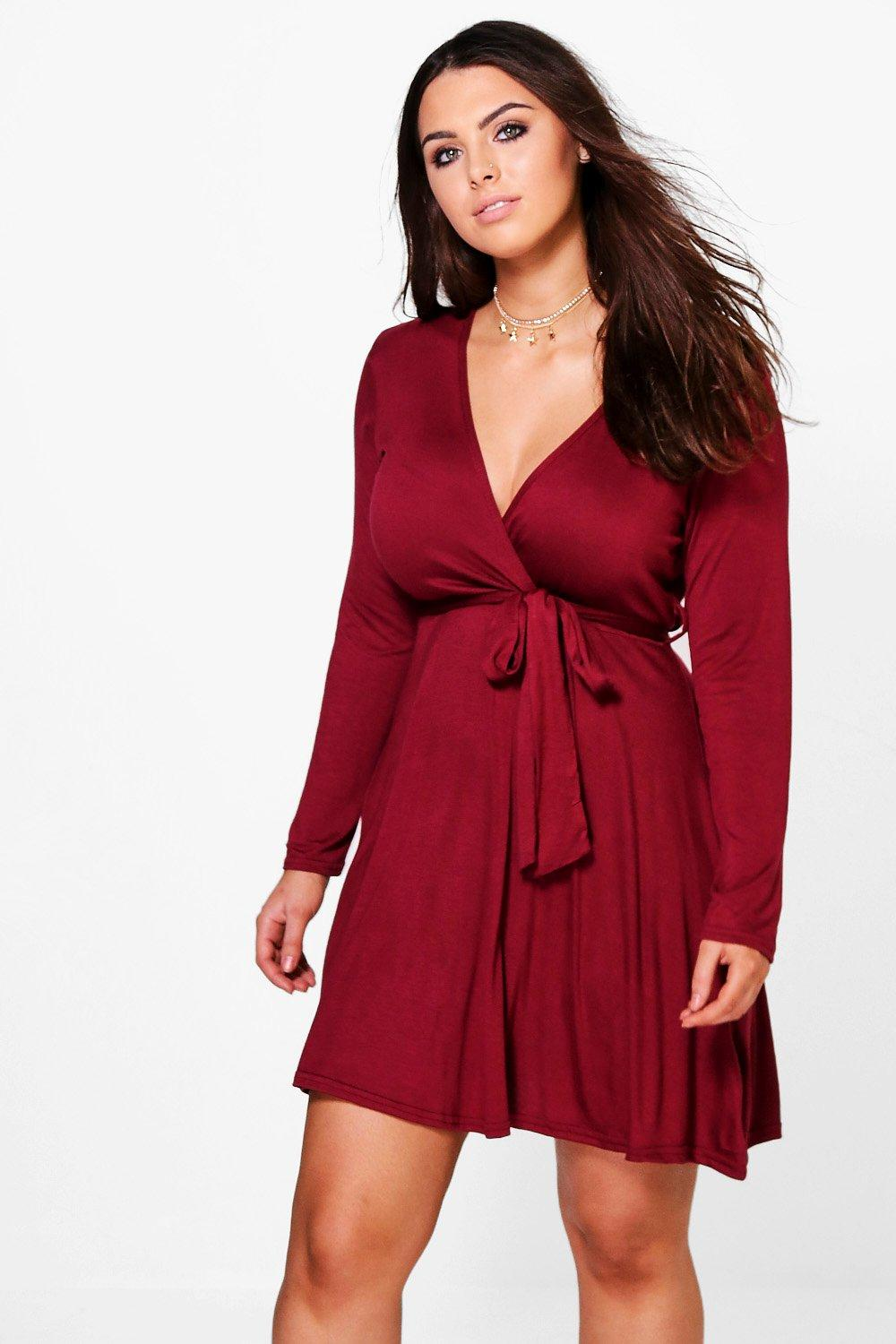 Plus Melanie Wrap Tie Skater Dress