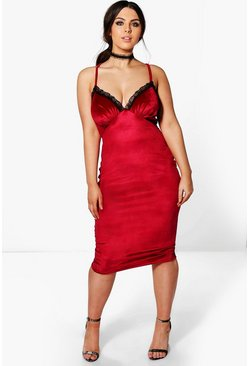 Plus Angela Velvet Lace Trim Strappy Bodycon Dress