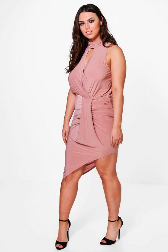 Plus Leona Asymmetric Wrap Dress