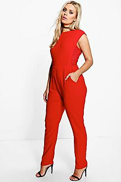 Plus Kennedy Boutique Crochet Insert Jumpsuit