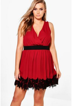 Plus Penny Boutique Crochet Lace Skater Dress