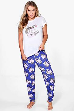 Plus Kerry Unicorn Printed PJ Set