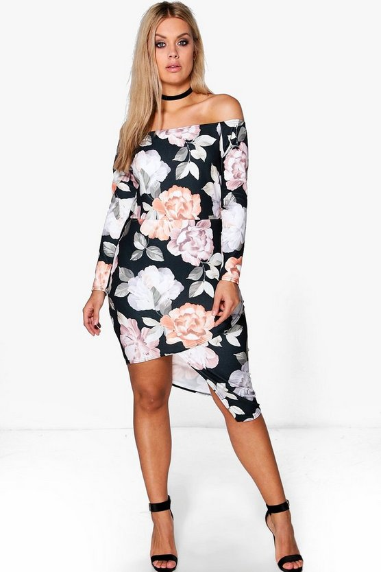 Plus Kimmy Off The Shoulder Asymmetric Wrap Dress