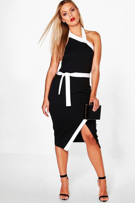 Plus Indea Wrap Front High Neck Midi Dress