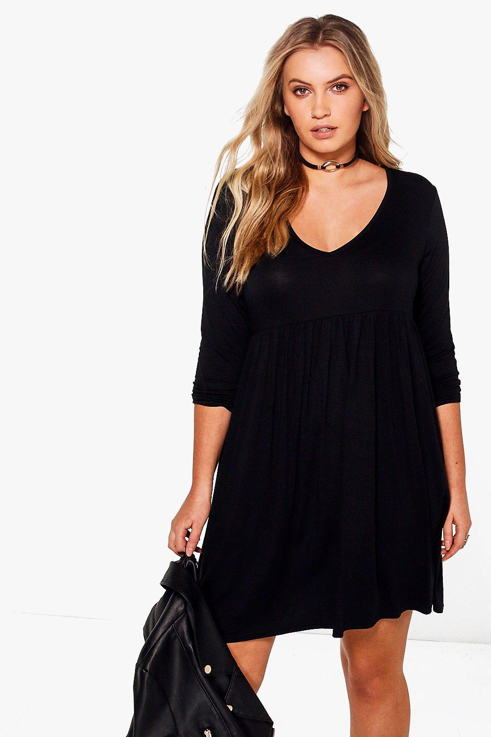 Plus Kayla Long Sleeve V Neck Smock Dress