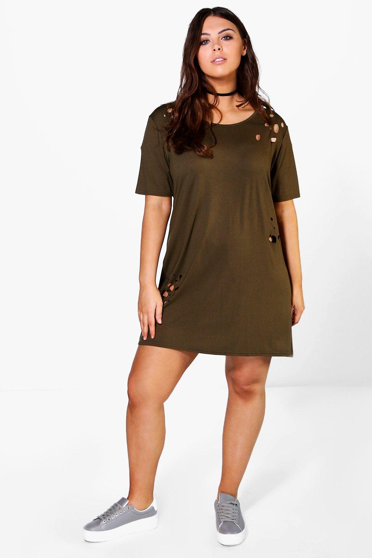 Willow Distressed Tshirt Dress  khaki