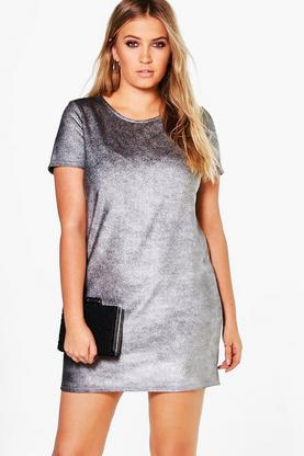 Plus Olivia Metallic Ribbed Shift Dress