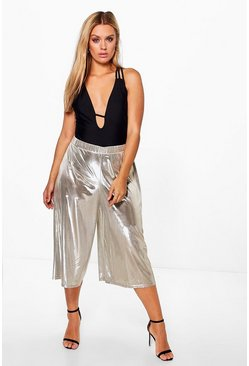 Plus Frances Metallic Silky Culottes
