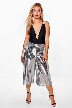 Plus Frances Seidiger Hosenrock in Metallic-Optik - Boohoo.com