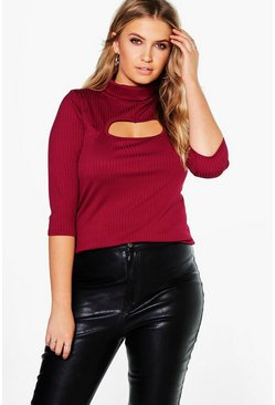 Plus Maisie Cut Out 3/4 Sleeve Rib Top