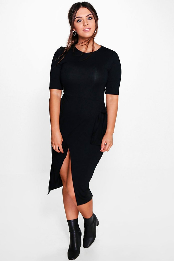 Plus Niamh Tie Waist 3/4 Sleeve Wrap Dress