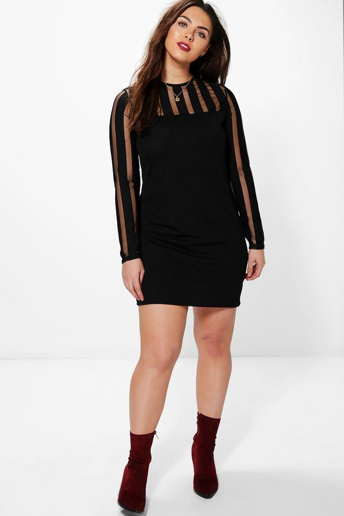 Plus Ella Stripe Mesh Bodycon Dress