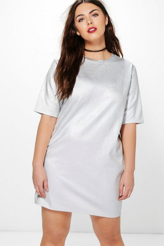 Plus Sofia Metallic Shift Dress
