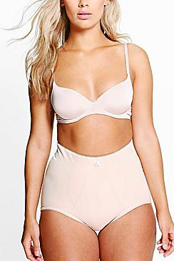 Plus Ava Satin Seam Detail Control High Waist Brief