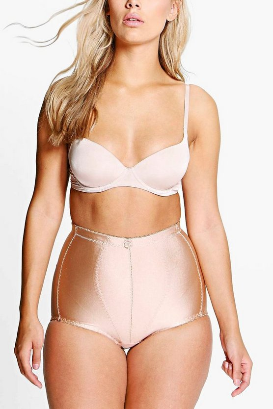 Plus Anna High Waist Seam Detail Contrast Brief