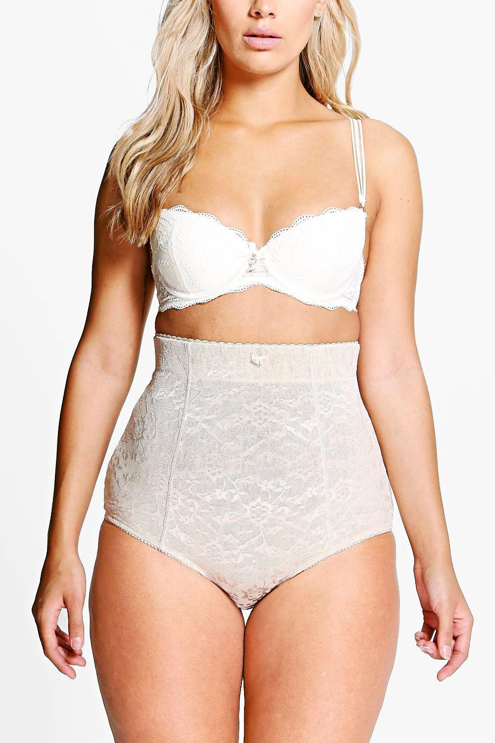 Plus Emma All Over Lace High Waist Cotton Brief