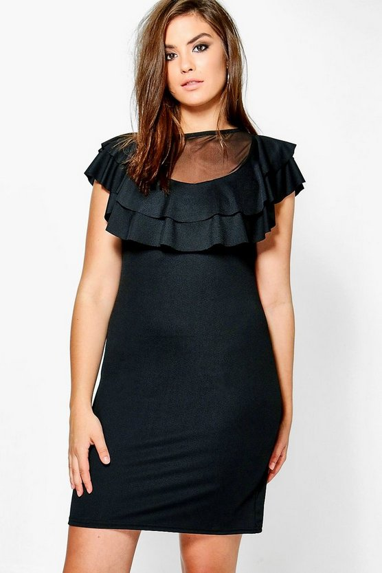 Plus Rosie Mesh Ruffle Bodycon Dress