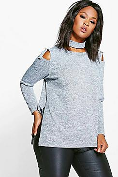 Plus Natalia Ring Detail Cold Shoulder Knitted Top
