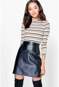 Petite Grace Stripe Turtle Neck Knitted Top