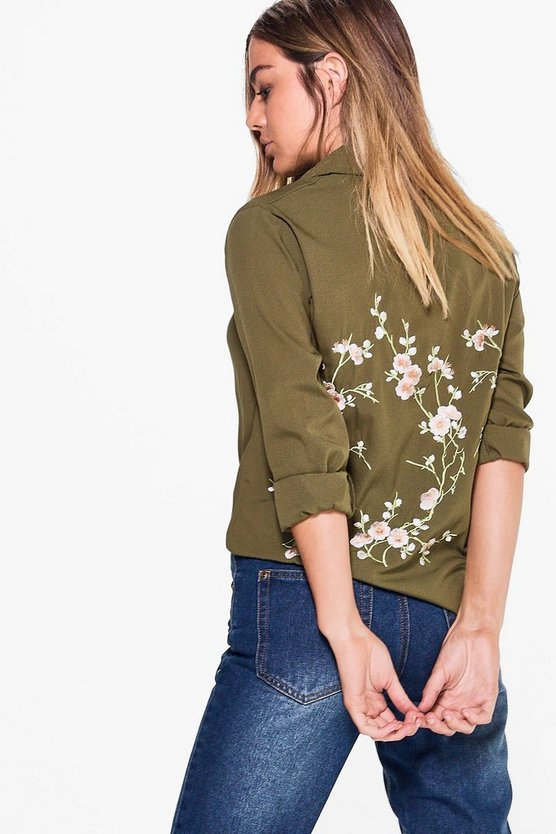 Petite Evelyn Embroidered Back Shirt